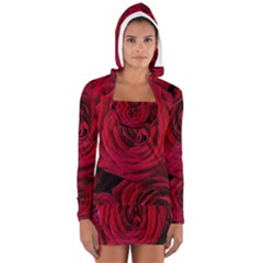 Roses Flowers Red Forest Bloom Women s Long Sleeve Hooded T Shirt