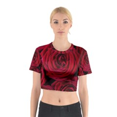 Roses Flowers Red Forest Bloom Cotton Crop Top