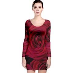 Roses Flowers Red Forest Bloom Long Sleeve Velvet Bodycon Dress