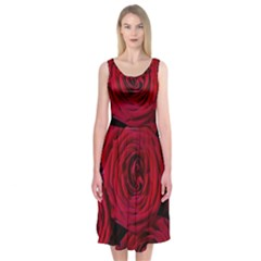 Roses Flowers Red Forest Bloom Midi Sleeveless Dress
