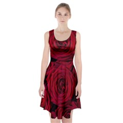 Roses Flowers Red Forest Bloom Racerback Midi Dress