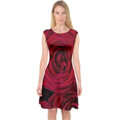 Roses Flowers Red Forest Bloom Capsleeve Midi Dress