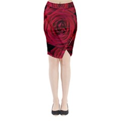 Roses Flowers Red Forest Bloom Midi Wrap Pencil Skirt