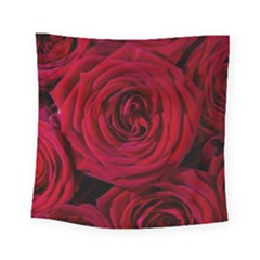 Roses Flowers Red Forest Bloom Square Tapestry (small)