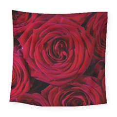 Roses Flowers Red Forest Bloom Square Tapestry (large)
