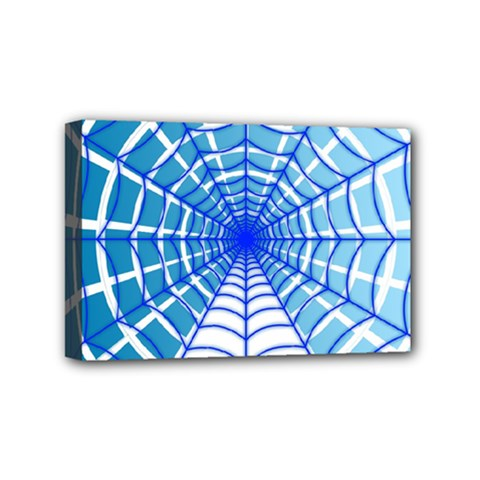 Cobweb Network Points Lines Mini Canvas 6  X 4