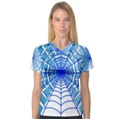 Cobweb Network Points Lines Women s V Neck Sport Mesh Tee
