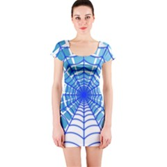 Cobweb Network Points Lines Short Sleeve Bodycon Dress