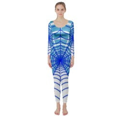 Cobweb Network Points Lines Long Sleeve Catsuit