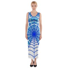 Cobweb Network Points Lines Fitted Maxi Dress