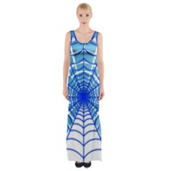 Cobweb Network Points Lines Maxi Thigh Split Dress
