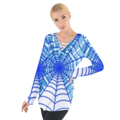 Cobweb Network Points Lines Women s Tie Up Tee