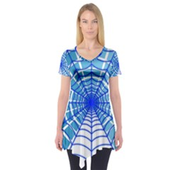 Cobweb Network Points Lines Short Sleeve Tunic