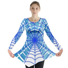 Cobweb Network Points Lines Long Sleeve Tunic