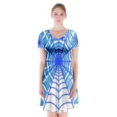Cobweb Network Points Lines Short Sleeve V Neck Flare Dress
