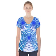 Cobweb Network Points Lines Short Sleeve Front Detail Top