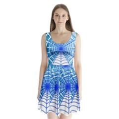 Cobweb Network Points Lines Split Back Mini Dress