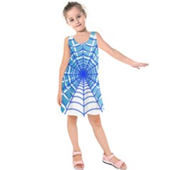 Cobweb Network Points Lines Kids  Sleeveless Dress