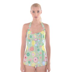 Flower Arrangements Season Pink Yellow Red Rose Sunflower Boyleg Halter Swimsuit