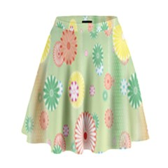Flower Arrangements Season Pink Yellow Red Rose Sunflower High Waist Skirt