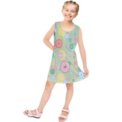 Flower Arrangements Season Pink Yellow Red Rose Sunflower Kids  Tunic Dress