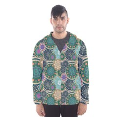 Flower Sunflower Floral Circle Star Color Purple Blue Hooded Wind Breaker (men)