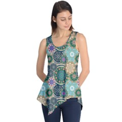 Flower Sunflower Floral Circle Star Color Purple Blue Sleeveless Tunic