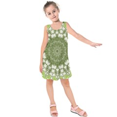 Mandala Center Strength Motivation Kids  Sleeveless Dress