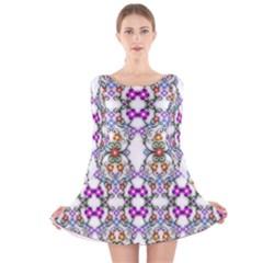 Floral Ornament Baby Girl Design Long Sleeve Velvet Skater Dress