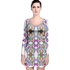 Floral Ornament Baby Girl Design Long Sleeve Velvet Bodycon Dress