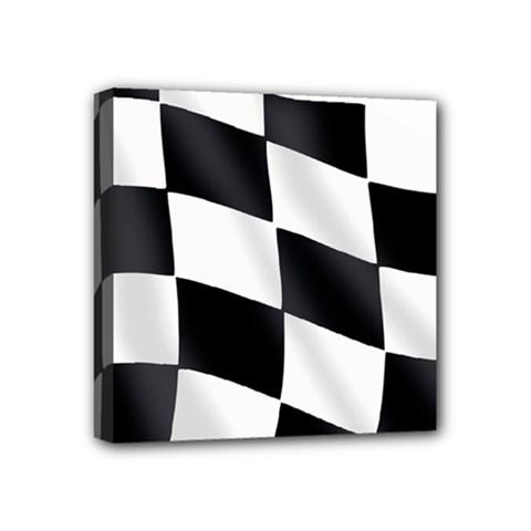 Flag Chess Corse Race Auto Road Mini Canvas 4  X 4