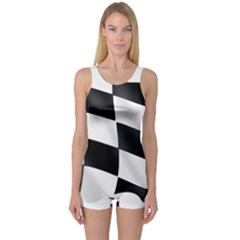 Flag Chess Corse Race Auto Road One Piece Boyleg Swimsuit