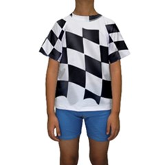 Flag Chess Corse Race Auto Road Kids  Short Sleeve Swimwear