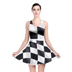 Flag Chess Corse Race Auto Road Reversible Skater Dress