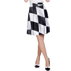 Flag Chess Corse Race Auto Road A Line Skirt