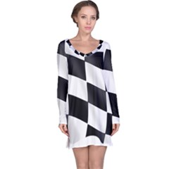 Flag Chess Corse Race Auto Road Long Sleeve Nightdress