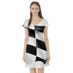 Flag Chess Corse Race Auto Road Short Sleeve Skater Dress
