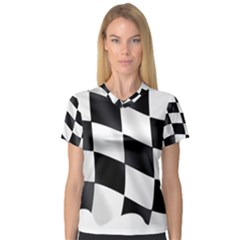 Flag Chess Corse Race Auto Road Women s V Neck Sport Mesh Tee