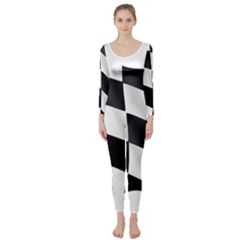 Flag Chess Corse Race Auto Road Long Sleeve Catsuit
