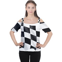 Flag Chess Corse Race Auto Road Women s Cutout Shoulder Tee