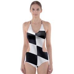 Flag Chess Corse Race Auto Road Cut Out One Piece Swimsuit