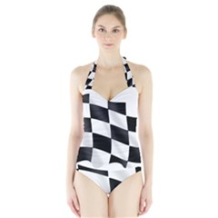 Flag Chess Corse Race Auto Road Halter Swimsuit