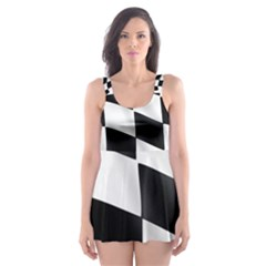 Flag Chess Corse Race Auto Road Skater Dress Swimsuit