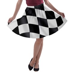 Flag Chess Corse Race Auto Road A Line Skater Skirt