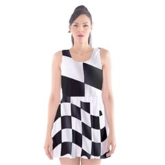 Flag Chess Corse Race Auto Road Scoop Neck Skater Dress