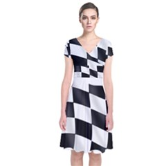 Flag Chess Corse Race Auto Road Short Sleeve Front Wrap Dress