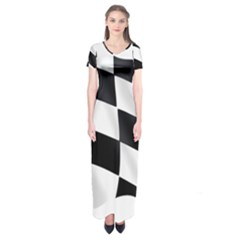 Flag Chess Corse Race Auto Road Short Sleeve Maxi Dress