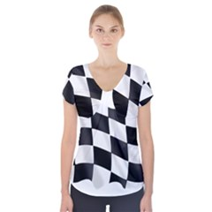 Flag Chess Corse Race Auto Road Short Sleeve Front Detail Top