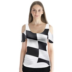 Flag Chess Corse Race Auto Road Butterfly Sleeve Cutout Tee
