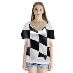 Flag Chess Corse Race Auto Road Flutter Sleeve Top